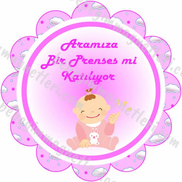 Baby Shower Kız Bebek Sticker - ET91 Etiket & Stickers